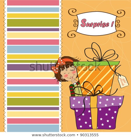 cute little girl hidden behind boxes of gifts. happy birthday greeting card Stock photo © balasoiu