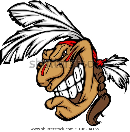 Grinning Indian Brave Mascot Head Vector Cartoon Stock foto © ChromaCo