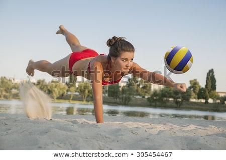 若い女性 · ボール · 演奏 · バレーボール · ビーチ · 夏休み - ストックフォト © nickp37
