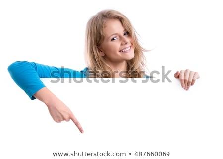 женщину · указывая · совета · белый · бумаги · стороны - Сток-фото © Nobilior