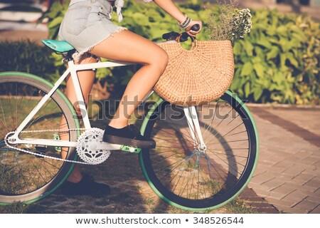Foto stock: Mulher · equitação · quadro · bela · mulher · nu
