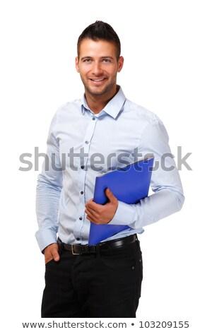Portre gülen iş adamı mavi gömlek Stok fotoğraf © scheriton