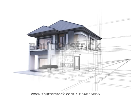 3D maison plan architectural bâtiment ville Photo stock © jezper
