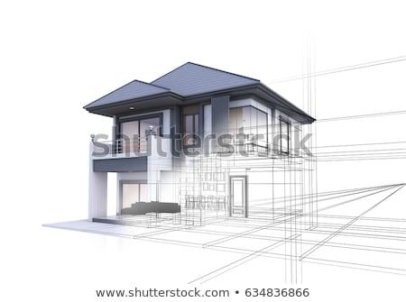 3d · casa · proyecto · plan · casco · lápiz - foto stock © jezper