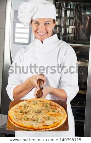 Feminino chef pizza branco Foto stock © wavebreak_media