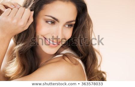 Panoramisch portret mooie vrouw model vers dagelijks Stockfoto © vwalakte