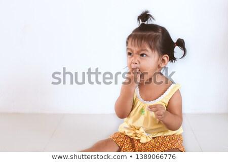 grappig · kinderen · gezicht · twee · lang · haar - stockfoto © doupix