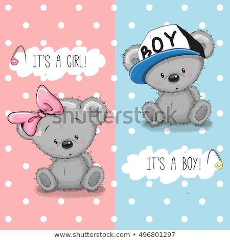 romantic baby girl announcement card with teddy bear Stock photo © balasoiu