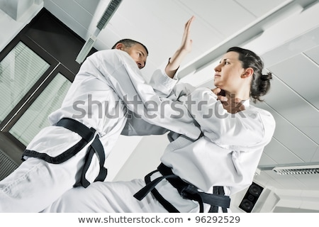 springen · vechtsporten · vechter · witte · sport · strijd - stockfoto © juniart