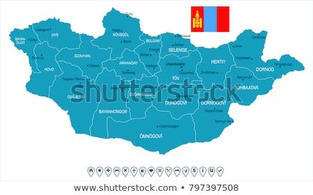 Zöld Mongólia térkép adminisztratív város ázsiai Stock fotó © Volina