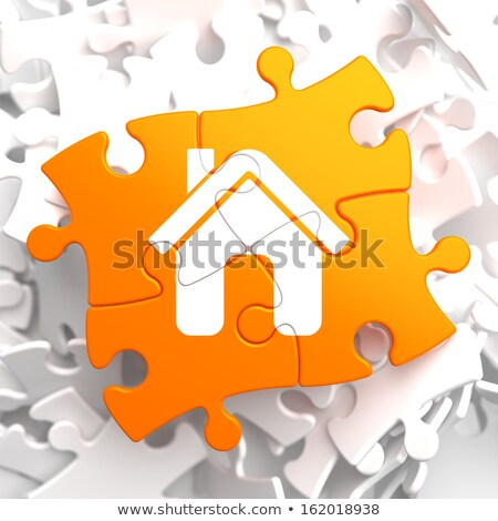 Assurance maison icône orange puzzle assurance habitation Photo stock © tashatuvango