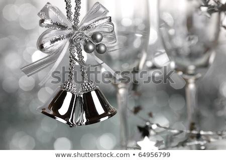 Noel · gümüş · süsler · bo · dekorasyon - stok fotoğraf © stephaniefrey