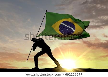Zdjęcia stock: Brazil Flag Man Holding Banner With Brazilian Flag