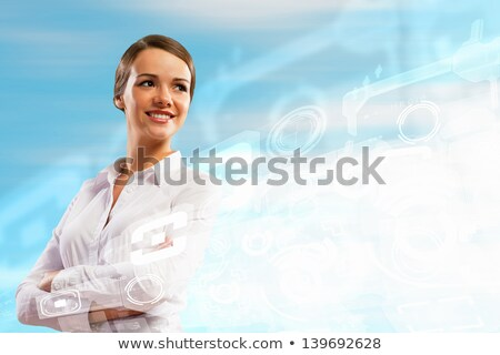 Business people against hightech background Stock photo © HASLOO