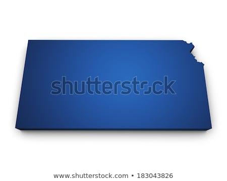 Mavi harita Kansas 3D biçim renkli Stok fotoğraf © NiroDesign