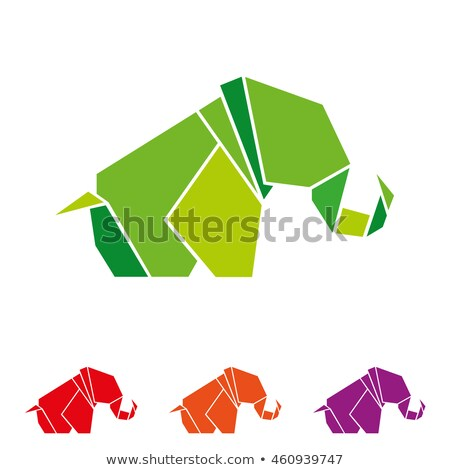 elephant in geometric origami style stock photo © gladiolus