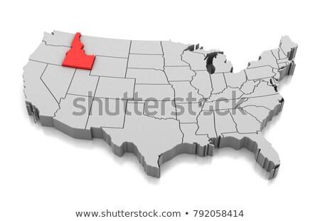 Kaart Idaho 3D vorm gekleurd Blauw Stockfoto © NiroDesign