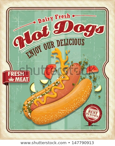 знак · Hot · Dog · колбаса · горчица · пластина · признаков - Сток-фото © davidarts