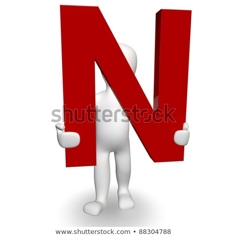 3D Human charcter holding red letter A stock photo © Giashpee
