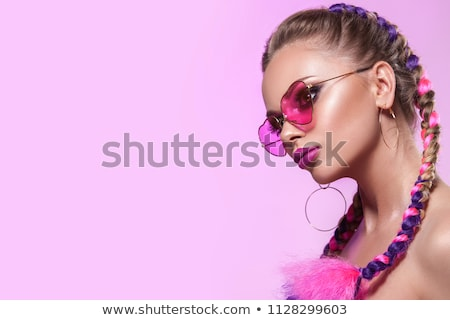 fashionable woman creative hairstyle portrait stock photo © nejron