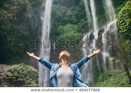 Beautiful girl em pé montanha mãos grande abrir Foto stock © Nejron