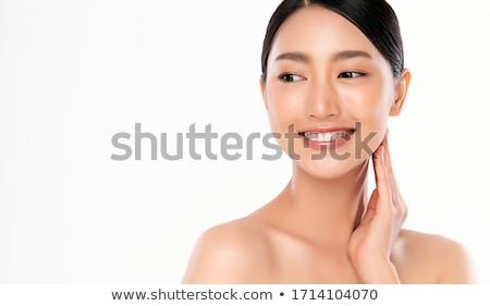 bastante · asiático · modelo · brilhante · make-up · olhando - foto stock © elwynn