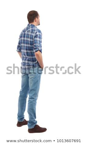 Ver de volta moço camisas jeans olhando Foto stock © ashumskiy