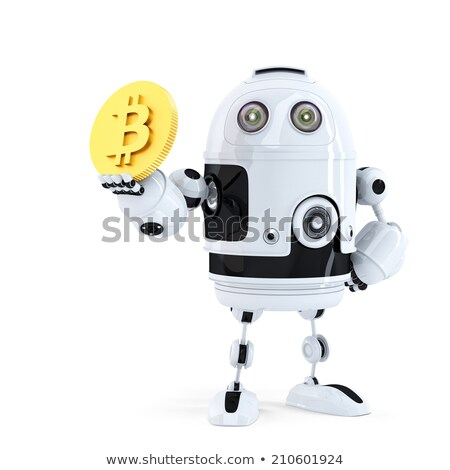 robot holding bitcoin isolated contains clipping path stock photo © kirill_m