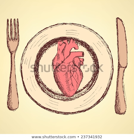 Sketch human heart on the plate in vintage style Stock photo © kali