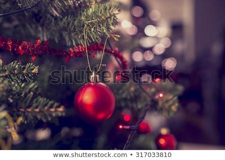 dekoratív · piros · labda · díszek · karácsonyfa · izolált - stock fotó © feelphotoart