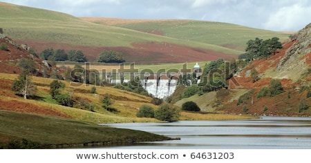 Elan Valley Craig Goch dam water overflowing, Wales UK. Stock photo © latent