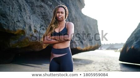 Femme caméra permanent scène tranquille fille Photo stock © rafalstachura
