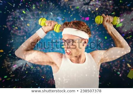 Hipszter pózol sportruha szürke férfi boldog Stock fotó © wavebreak_media