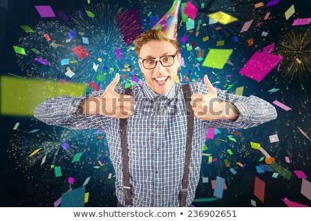 Hipszter visel buli kalap mosolyog kamera Stock fotó © wavebreak_media
