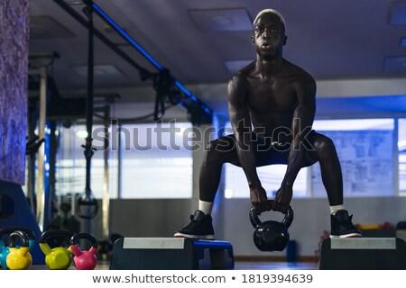 kas · adam · ayakta · halter · siyah · vücut - stok fotoğraf © arenacreative
