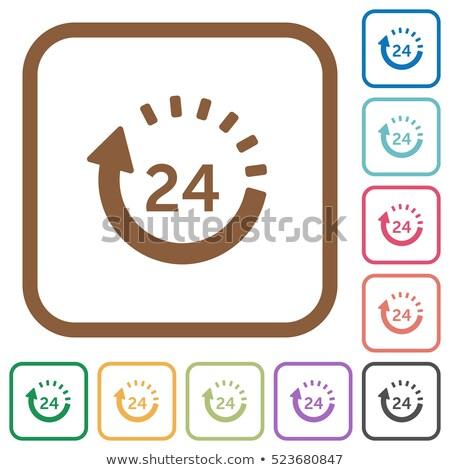 24 Hours Service Purple Vector Icon Button Stock photo © rizwanali3d