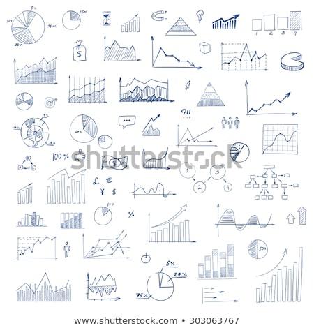 doodle · groei · grafiek · icon · Blauw · pen - stockfoto © pakete