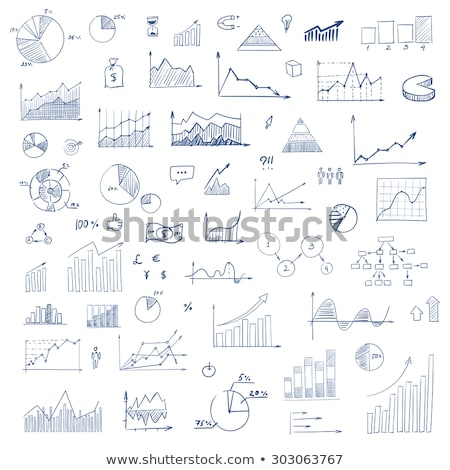 Stockfoto: Doodle · groei · grafiek · icon · Blauw · pen