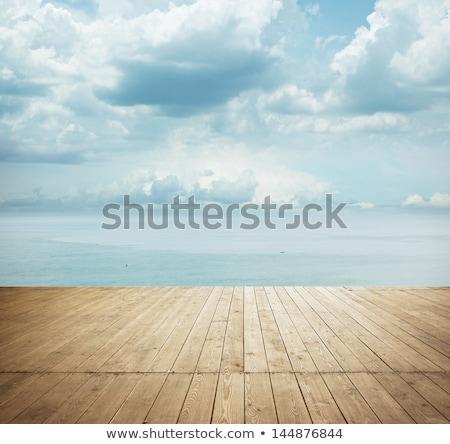 madeira · velha · piso · nublado · céu · abstrato · ver - foto stock © avlntn