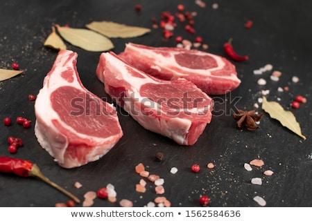 bárány · kotlett · vágódeszka · fa · csont - stock fotó © zhekos