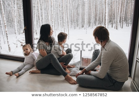 family on the stepladder on the the white Stock photo © Paha_L