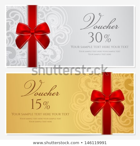 red gift certificate with gold ornamental pattern stock photo © liliwhite