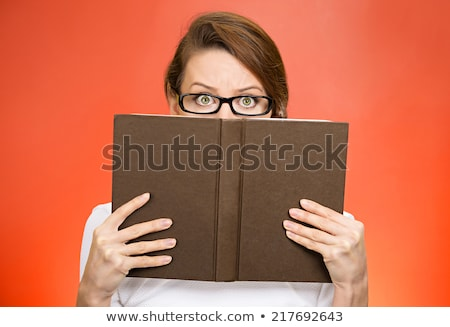 Tímido professor livros isolado branco mulher Foto stock © PetrMalyshev