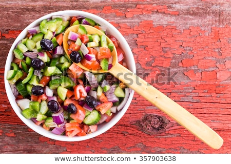 Turkish shepherd salad served with olives Stock photo © ozgur