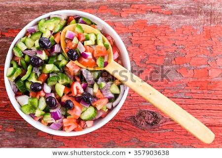 friss · török · juhász · saláta · olajbogyók · színes - stock fotó © ozgur