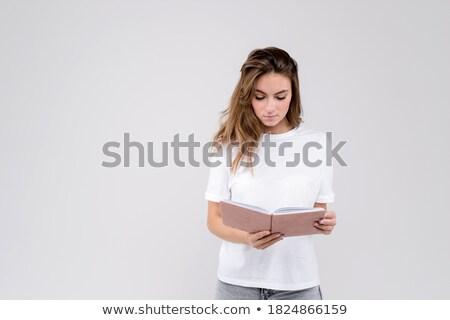 csinos · üzletasszony · áll · szervező · napló · barátságos - stock fotó © aikon
