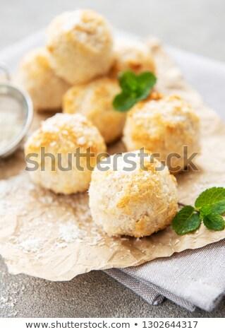 fresh baked coconut light cookies stock photo © dariazu