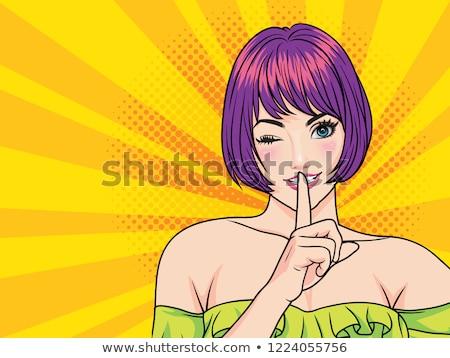 sevimli · Retro · kadın · stil · mesaj - stok fotoğraf © balasoiu