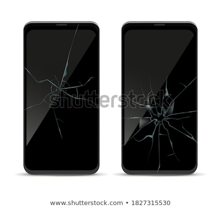 broken screen mobile phone black isolated on a white background stock photo © traza