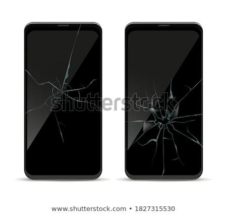 Defekt Bildschirm Handy schwarz isoliert weiß Stock foto © traza